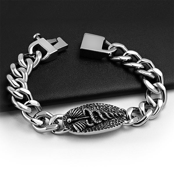 Caduceus Hammered Stainless Steel Bracelet