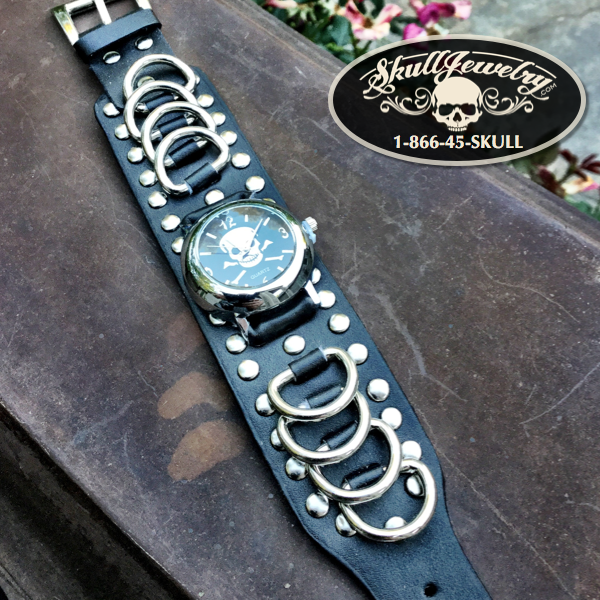 Chicago 'Twenty-Five Or Six To Four' Skull & Bones Leather Watch