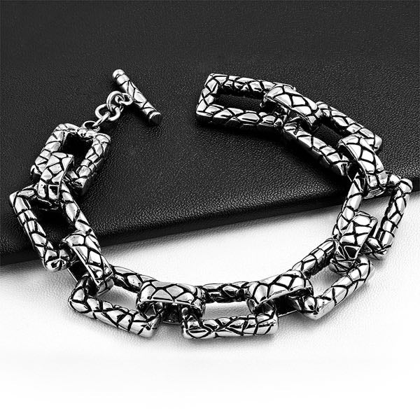 Crocodile Skin Stainless Steel Bracelet