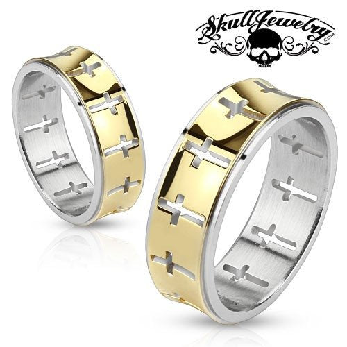 Gold Cut Out Cross Stainless Steel Ring
