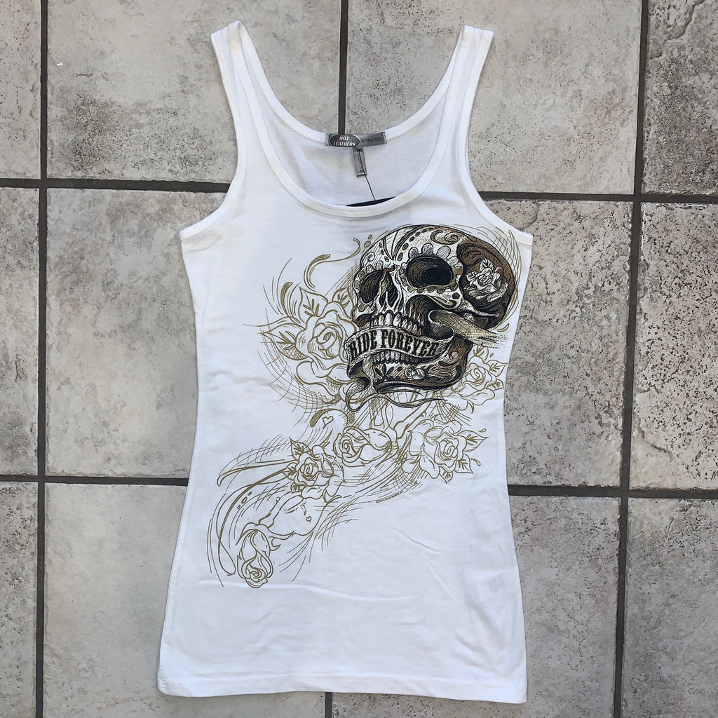 'Ride Forever' Ladies Skull Tank T-Shirt