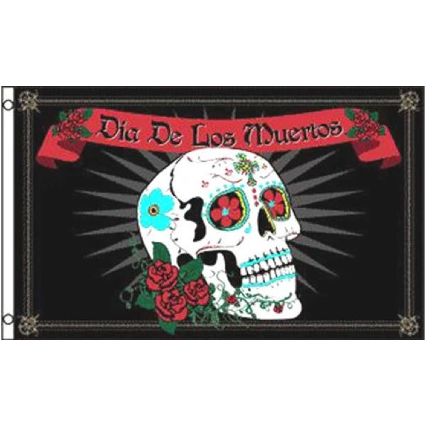 'Day of the Dead' Skull & Roses Flag (flag023)