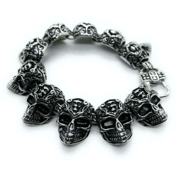 'Don't You Forget About Me' Stainless Steel Skull Bracelet with Inner Face