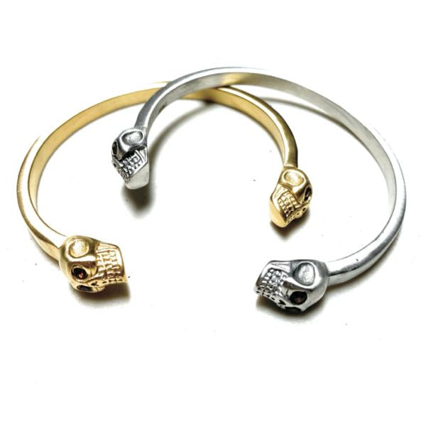'Double Trouble' Steel Bangle Skull Bracelet (gold-tone or silver-tone
