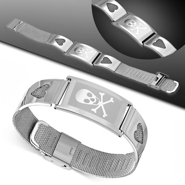 Double Hearts Skull Stainless Steel Bracelet