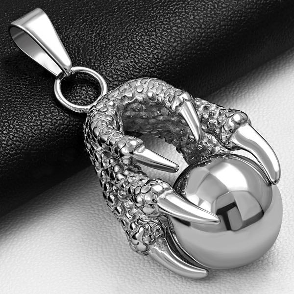 VINTAGE PEWTER SKULL CROWN CLAW BLADE PENDANT NECKLACE