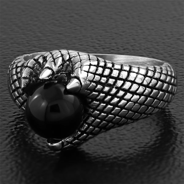Dragon Claw Ring W/ Black Onyx Stone