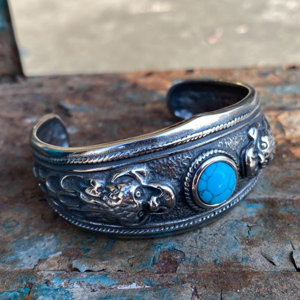 Dragon Cuff Bangle Bracelet w/ Turquoise Stone