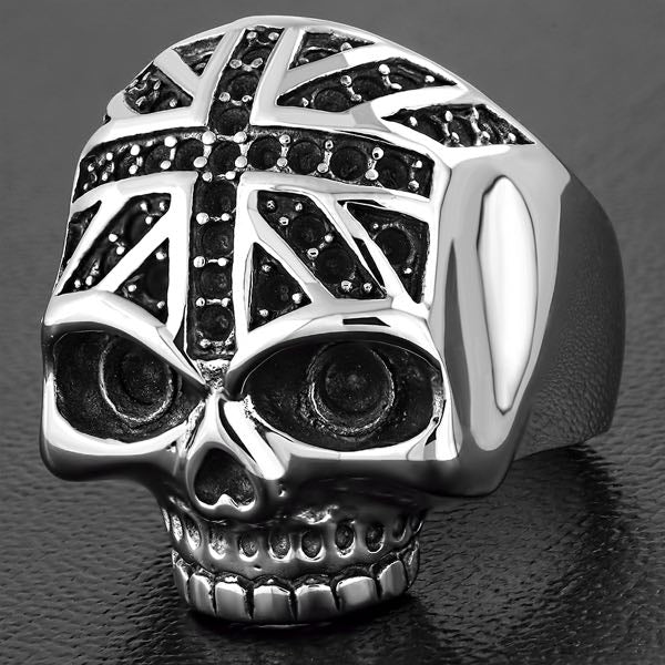 England Forehead Flag Skull Ring