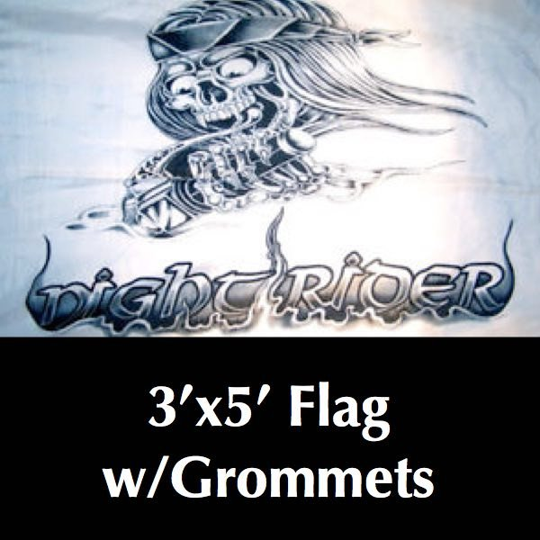Night Rider Skull Flag 3' X 5'