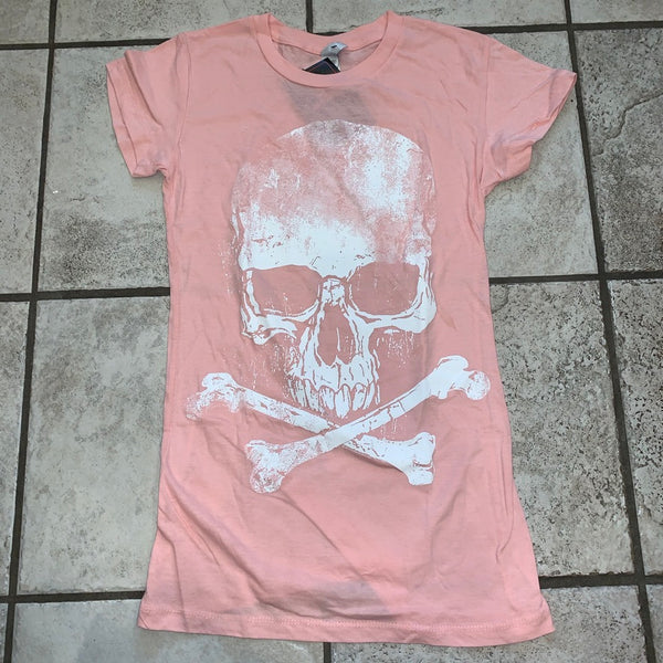Ladies White Distressed Skull Pink T-Shirt