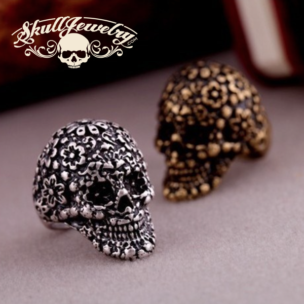 Fashionable Designer Women's Skull Ring in Antique Silver or Bronze
