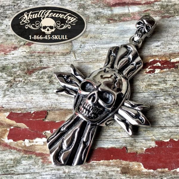 'Flames of Fire' Skull & Cross Pendant