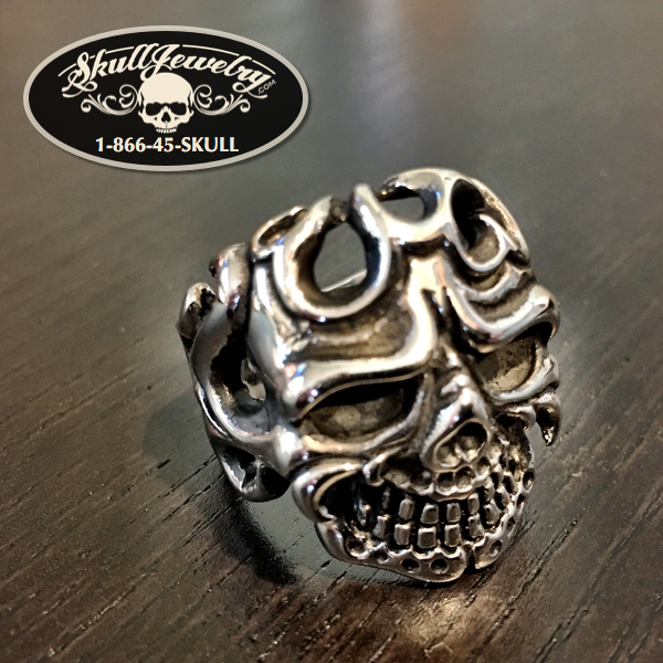 Flaming Skull Ring With A Smile On The Face