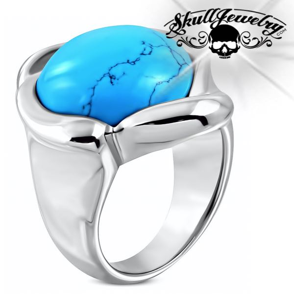 Flower Cocktail Ring W/ Turquoise Stone (c084)