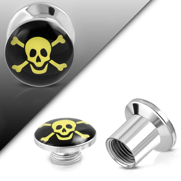 G-5mm | 3-Tone Pirate Skull Crossbones Double Flared Screw Fit Ear Plug