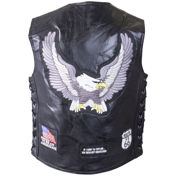 Buffalo Leather Vest w/Eagle Patch