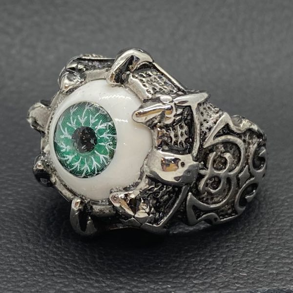 GREEN 'All Seeing Eye' Gothic Skull Dragon Ring (c041)