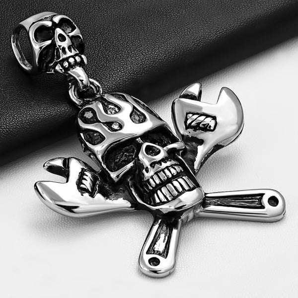 'Ghost Rider' Flaming Skull Pendant