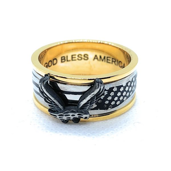 'God Bless America' American Flag and Eagle Ring