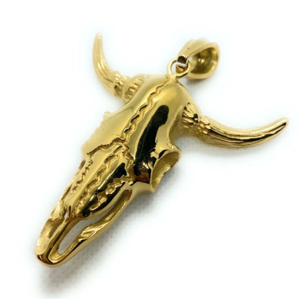 Gold-Tone - Big & Bold Steer w/Horns Pendant