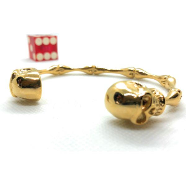 Gold-Tone 'Bad to the Bone' Steel Bangle Bracelet