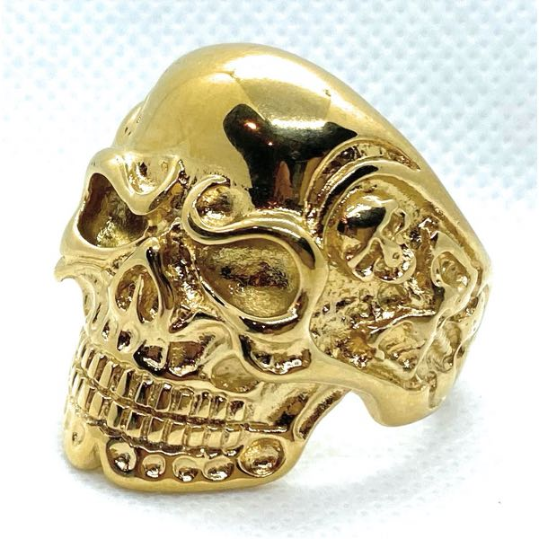 'Gold-Tone' Heavy Biker Skull Ring With Side Skeletons (010Gold)