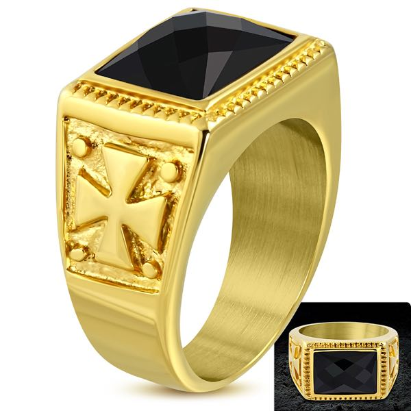 Gold-Tone Maltese Cross Ring w/ Jet Black CZ (c200)