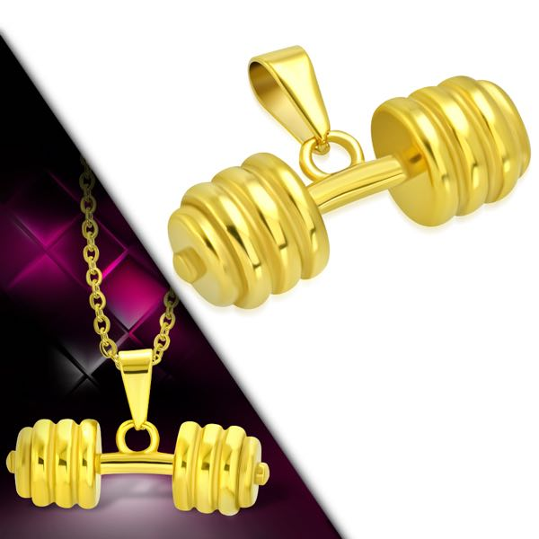 Gold-Tone Weightlifting Barbell/ Dumbbell Pendant (c207)