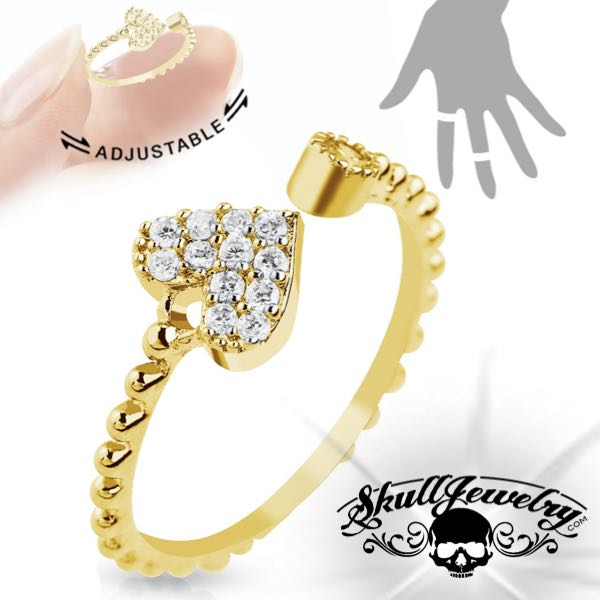 Gold-Tone 'Who You Love' Adjustable Heart Ring (adj011)