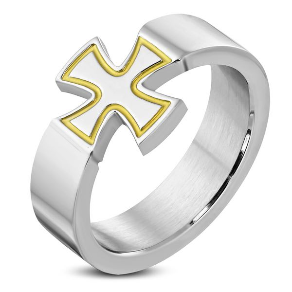 Gold Lined Pattee Cross Ring