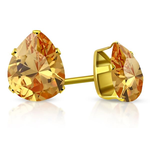 Gold Plated Stainless Steel Prong-Set Pear/ Teardrop Stud Earrings W/ Topaz CZ