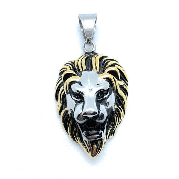 Gold & Silver Tone 'King Leonidas' the Lion - Big, Bold & Heavy Pendant