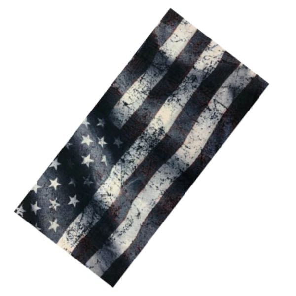 Gray/Blue Wavy American Flag Face Mask - 14 Different Uses (mask023)