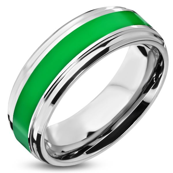 Green Stripe Band Stainless Steel Ring