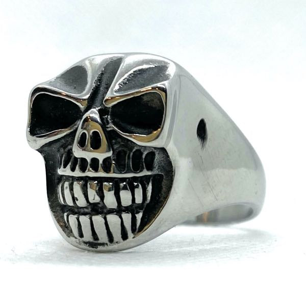 'Happy With You' Stainless Steel Skull Ring (c201)