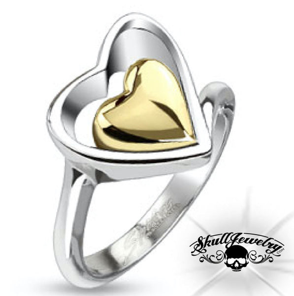 'Heart of Gold' Double Heart Ring