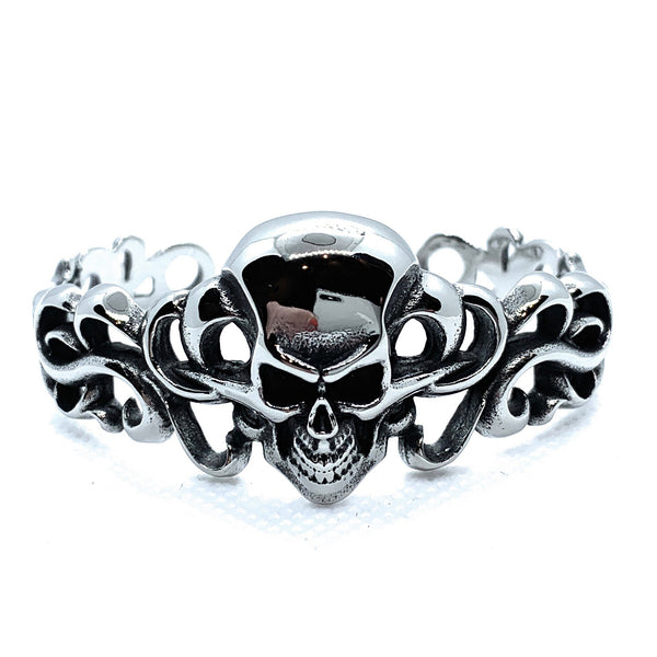 'Ornate Skull' Steel Bangle Bracelet (bangle008)
