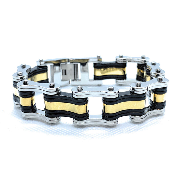 Gold, Black and Stainless Steel Bracelet (942)