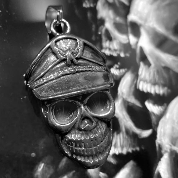 'I'd Rather Die a Soldier Than a Coward' Black Eyes Skull Pendant