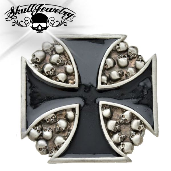 Iron Cross w/Skulls Belt Buckle (buckle008)