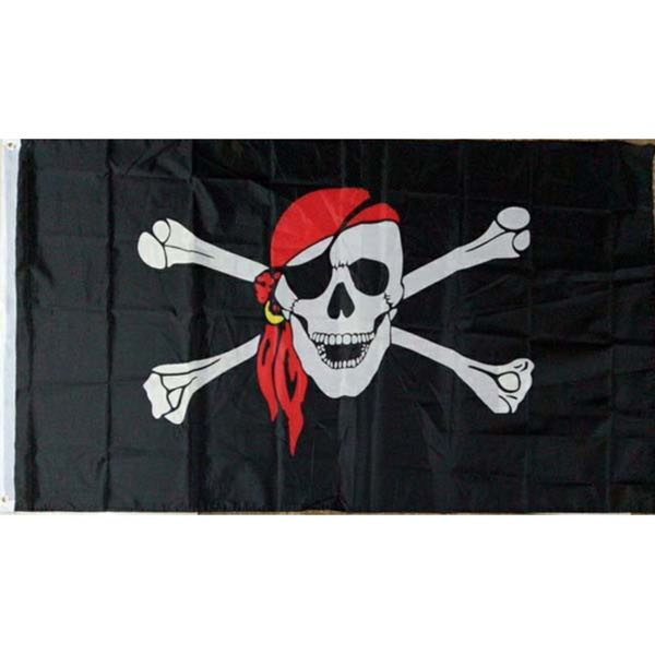 Jolly Roger Pirate Flag w/Red Scarf Flag 3'x5' (flag030)
