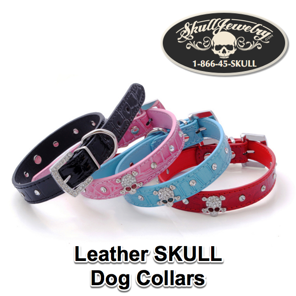 Leather Skull Dog Collars with Rhinestones