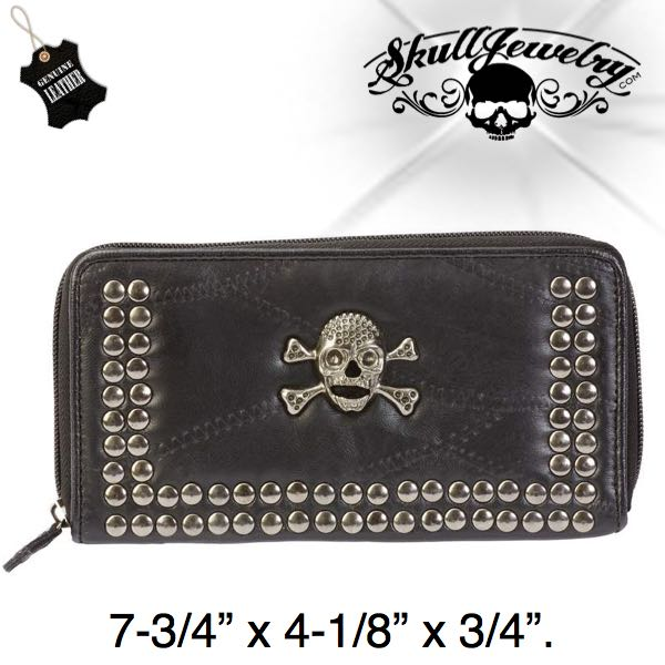 Lambskin Leather Wallet Studs & Skull