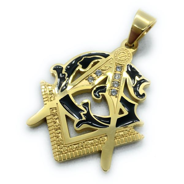 Large Gold Tone Masonic Pendant