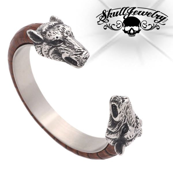 Leather/Steel Wolf Bangle Bracelet