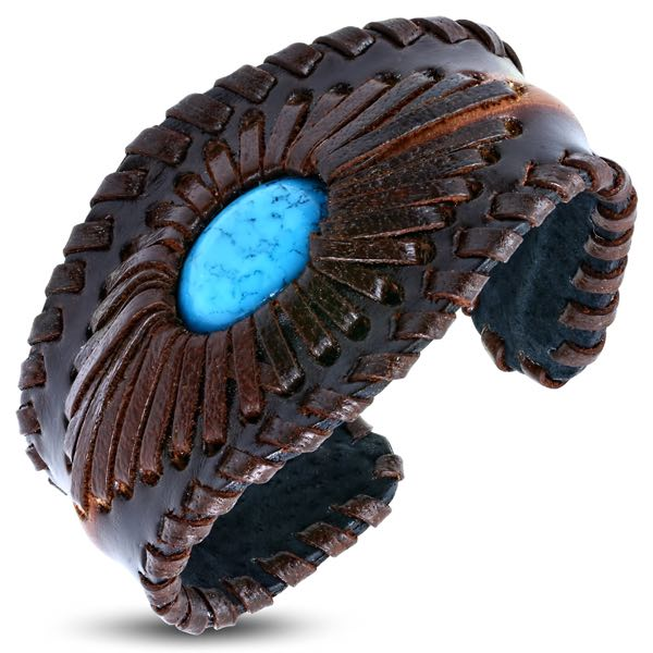 Leather Weave Wristband Cuff Bangle W/ Turquoise Stone