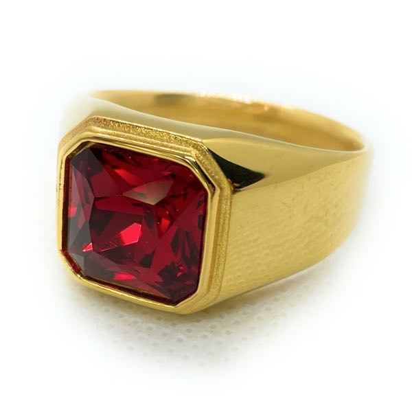 'Leaving Las Vegas' LARGE SIZE Gold/Red Stone Ring
