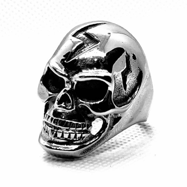 'Lightening Bolt' Big & Bold Skull Ring (021)