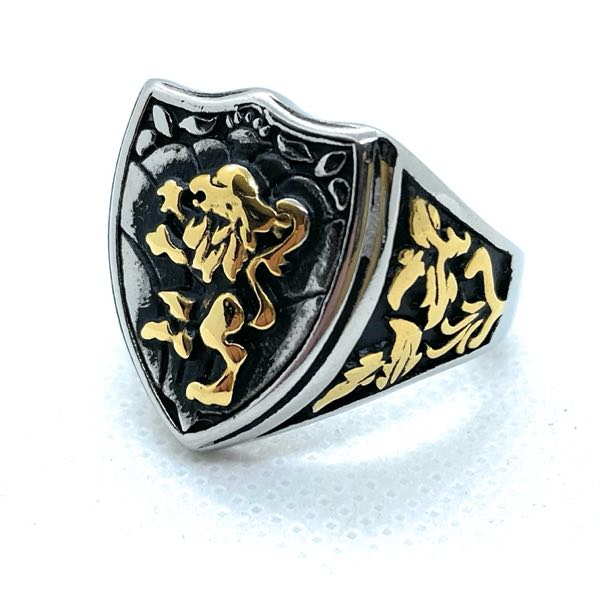Lion Rampant gold tone and stainless ring